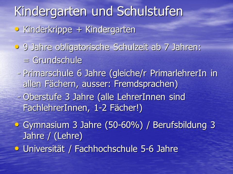 Kindergarten und Schulstufen
