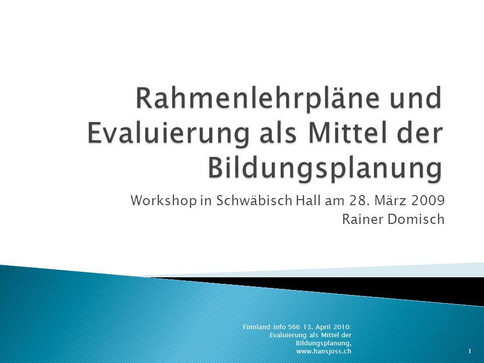 Rahmenlehrpläne und Evaluierung als Mittel der Bildungsplanung