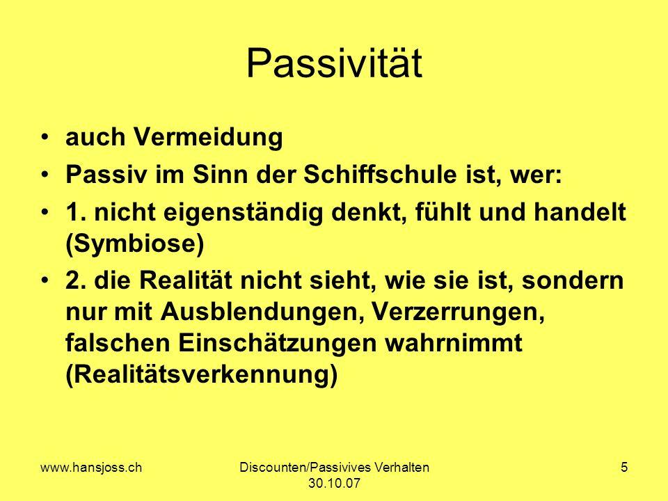 Discounten/Passivives Verhalten 30.10.07