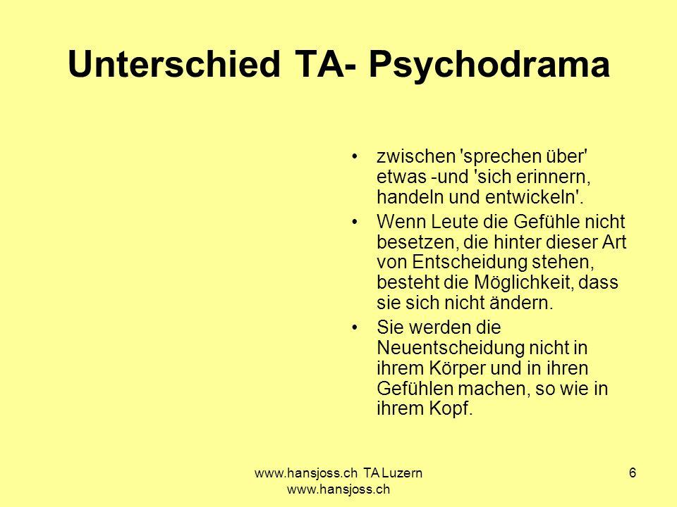 Unterschied TA- Psychodrama