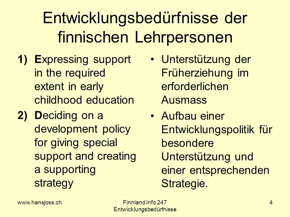 Entwicklungsbedürfnisse der finnischen Lehrpersonen
