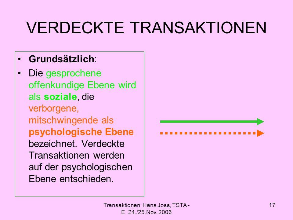 VERDECKTE TRANSAKTIONEN