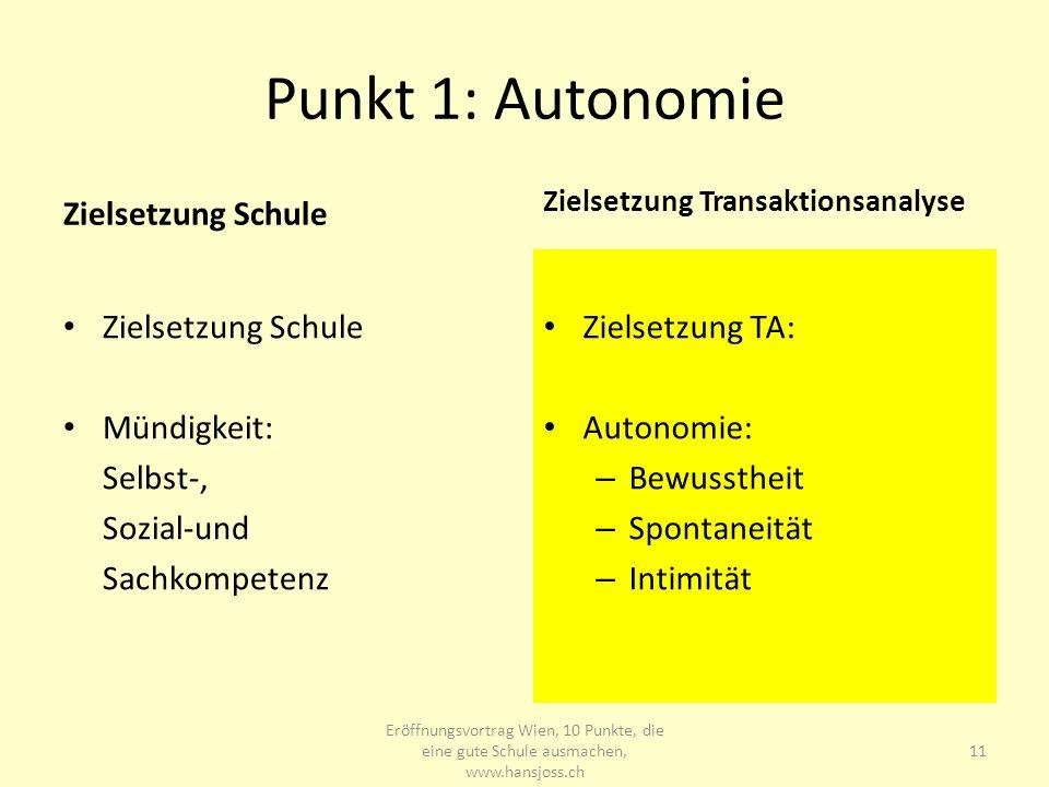 Punkt 1: Autonomie Zielsetzung Schule Zielsetzung Schule Mündigkeit: