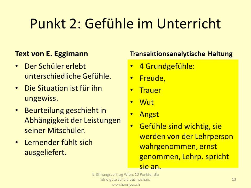 Punkt 2: Gefühle im Unterricht
