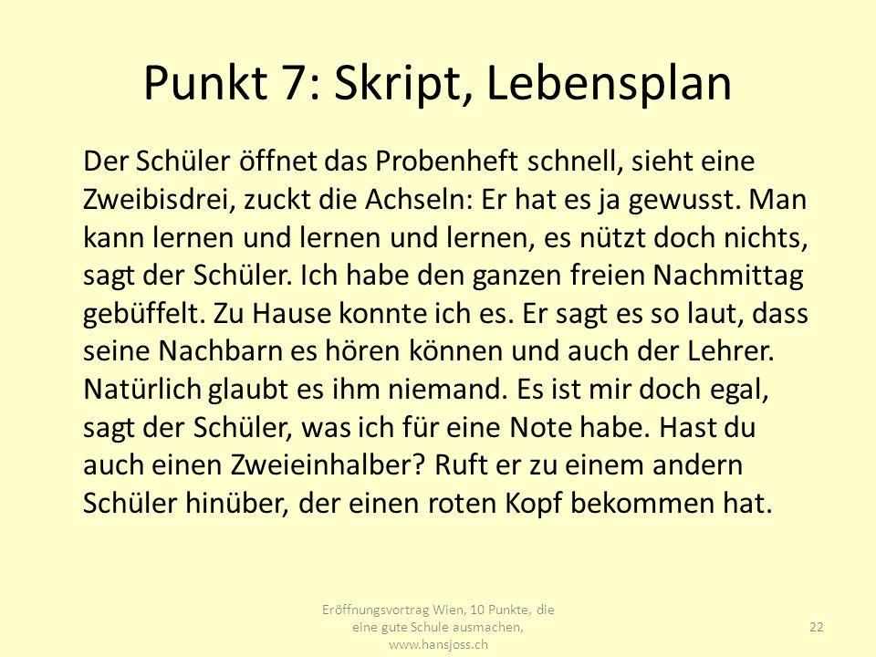 Punkt 7: Skript, Lebensplan