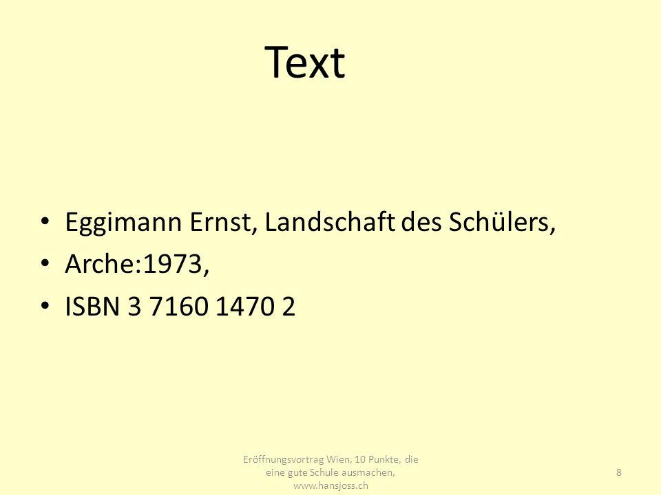 Text Eggimann Ernst, Landschaft des Schülers, Arche:1973,