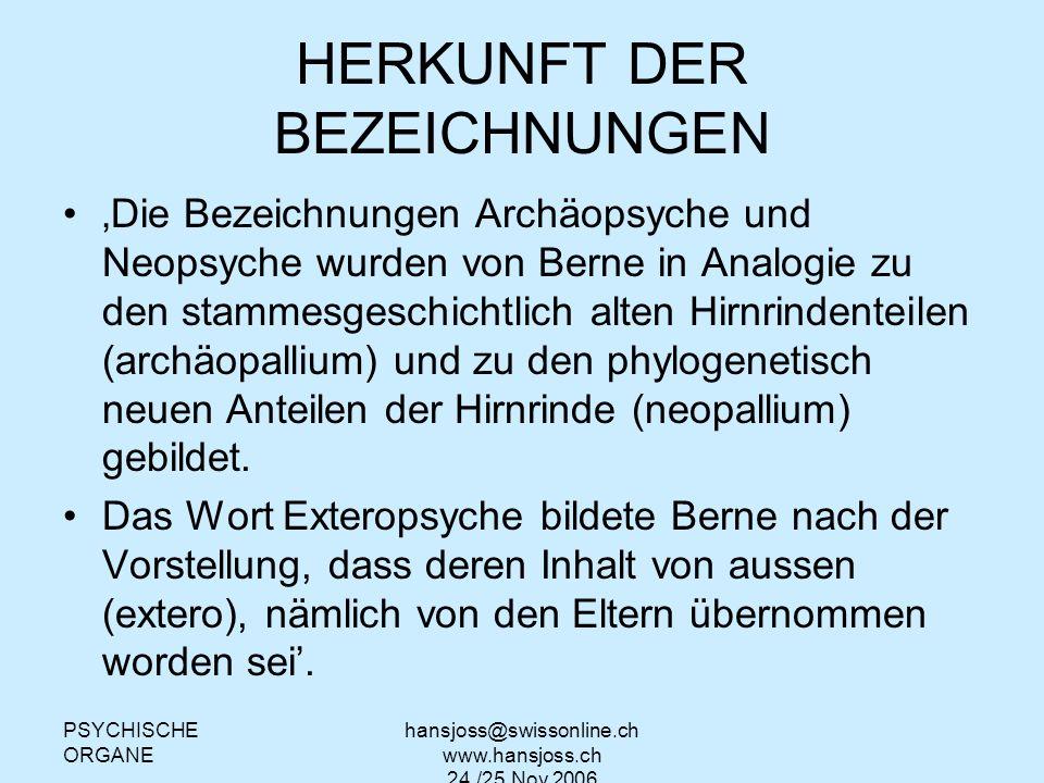 HERKUNFT DER BEZEICHNUNGEN
