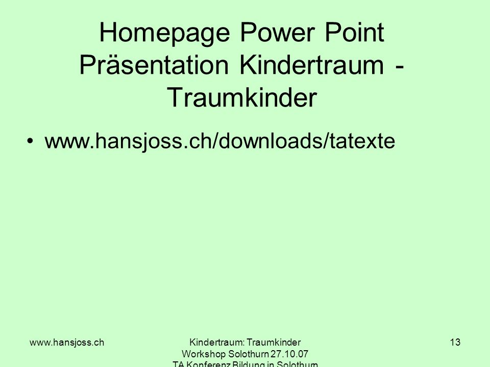 Homepage Power Point Präsentation Kindertraum - Traumkinder