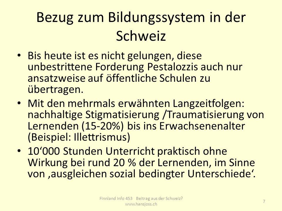 Bezug zum Bildungssystem in der Schweiz