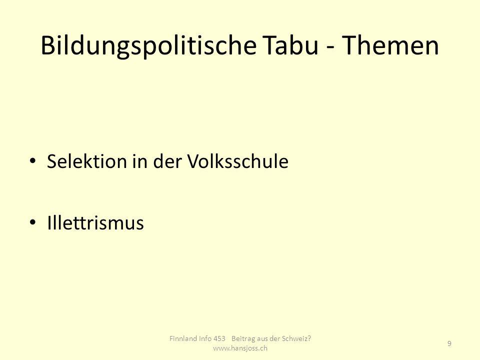 Bildungspolitische Tabu - Themen