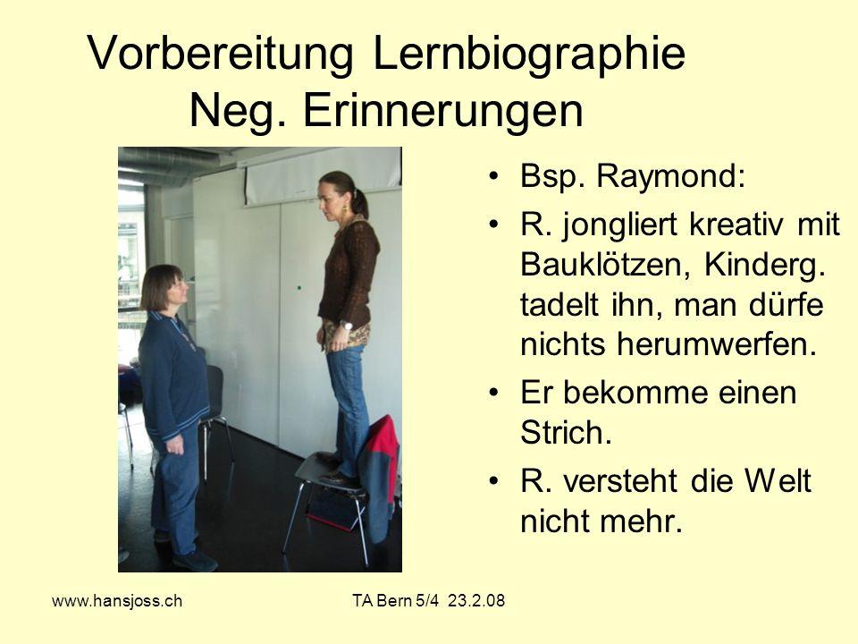 Vorbereitung Lernbiographie Neg. Erinnerungen