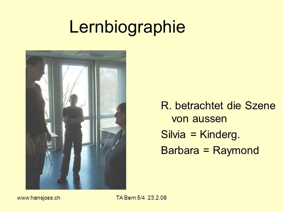Lernbiographie R. betrachtet die Szene von aussen Silvia = Kinderg.