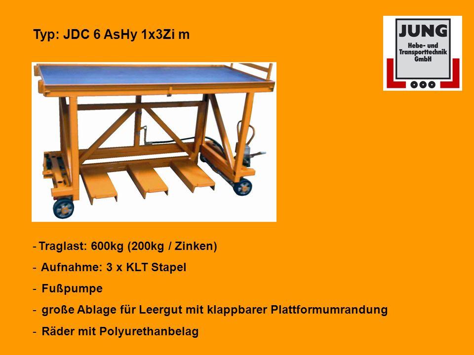 Typ: JDC 6 AsHy 1x3Zi m Traglast: 600kg (200kg / Zinken)