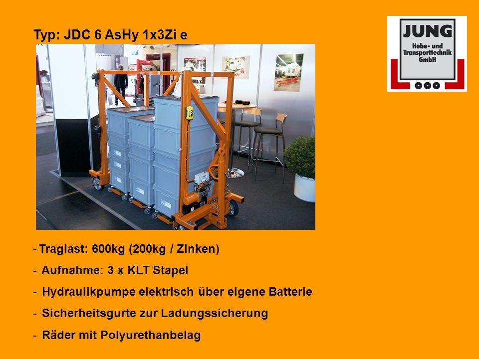 Typ: JDC 6 AsHy 1x3Zi e Traglast: 600kg (200kg / Zinken)