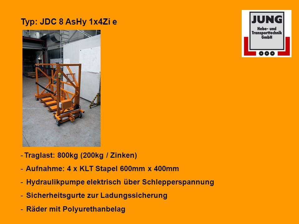 Typ: JDC 8 AsHy 1x4Zi e Traglast: 800kg (200kg / Zinken)