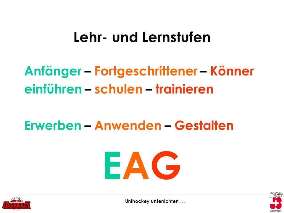 EAG Lehr- und Lernstufen Anfänger – Fortgeschrittener – Könner