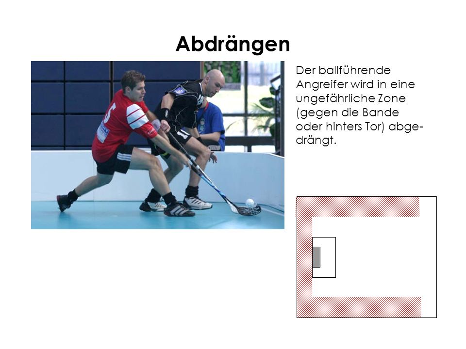 AbdrängenDer ballführende Angreifer wird in eine ungefährliche Zone (gegen die Bande oder hinters Tor) abge-drängt.