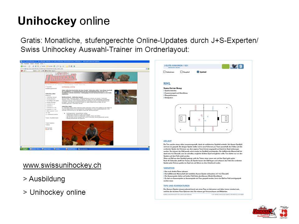 Unihockey online Gratis: Monatliche, stufengerechte Online-Updates durch J+S-Experten/ Swiss Unihockey Auswahl-Trainer im Ordnerlayout: