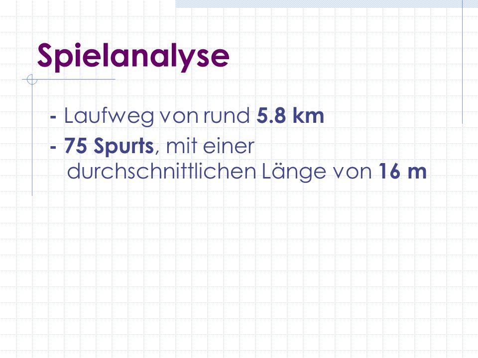Spielanalyse - Laufweg von rund 5.8 km