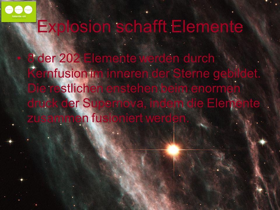 Explosion schafft Elemente