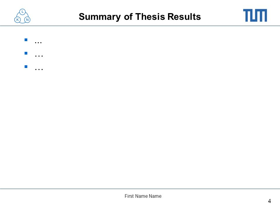 Summary of Thesis Results