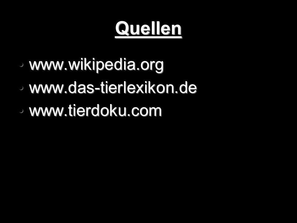 Quellen www.wikipedia.org www.das-tierlexikon.de www.tierdoku.com