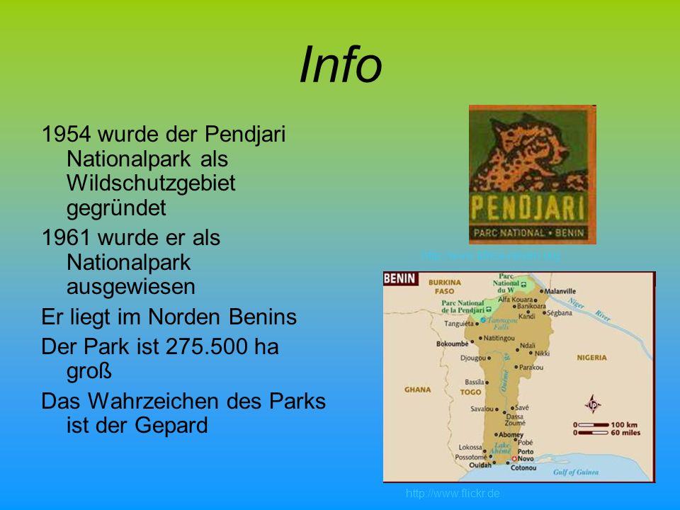 Info 1954 wurde der Pendjari Nationalpark als Wildschutzgebiet gegründet. 1961 wurde er als Nationalpark ausgewiesen.