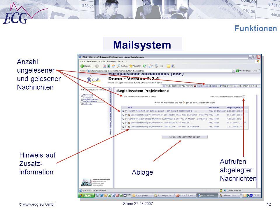 Mailsystem Funktionen Anzahl ungelesener und gelesener Nachrichten