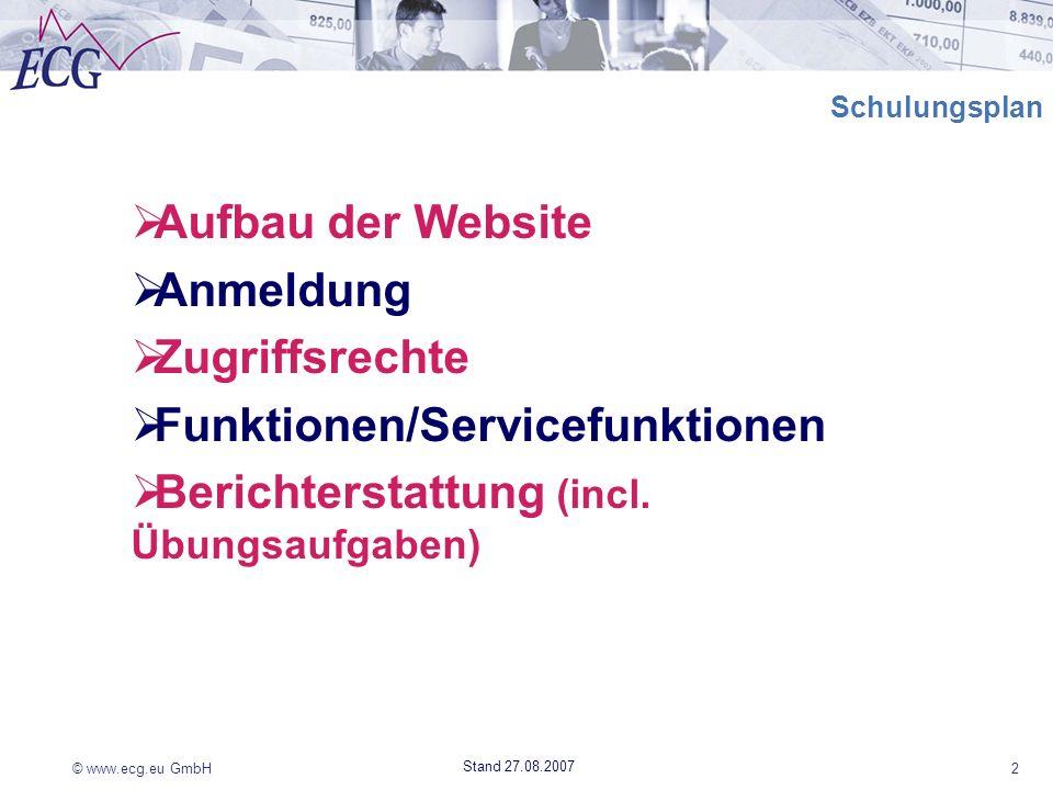 Funktionen/Servicefunktionen Berichterstattung (incl. Übungsaufgaben)