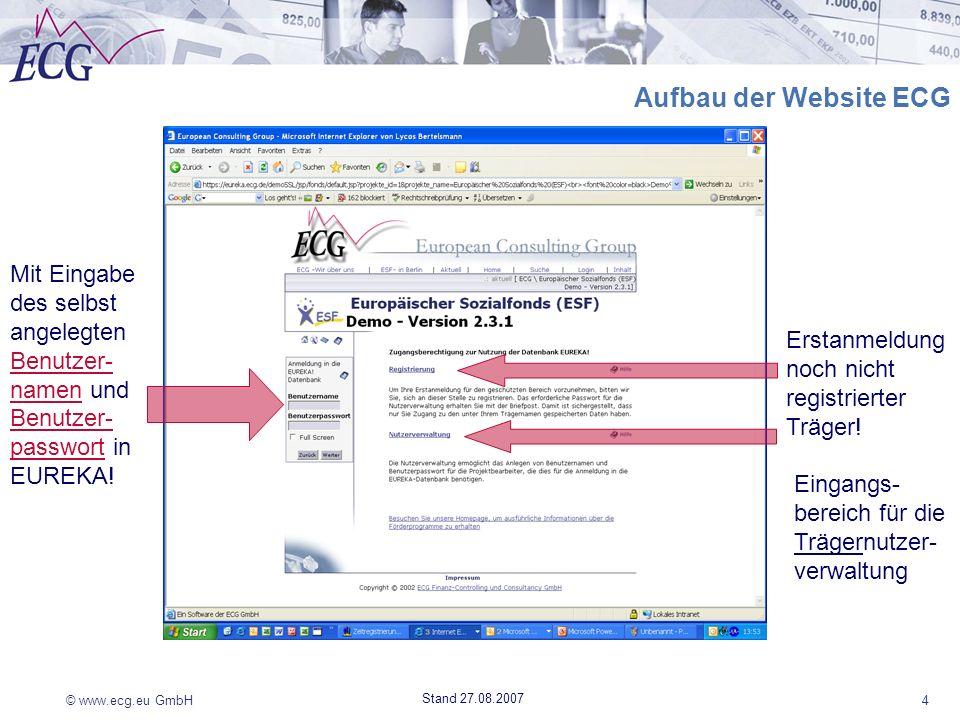 Aufbau der Website ECG Mit Eingabe des selbst angelegten Benutzer-namen und Benutzer-passwort in EUREKA!