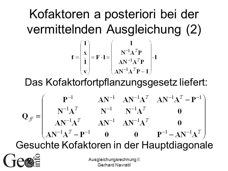 Kofaktoren a posteriori bei der vermittelnden Ausgleichung (2)