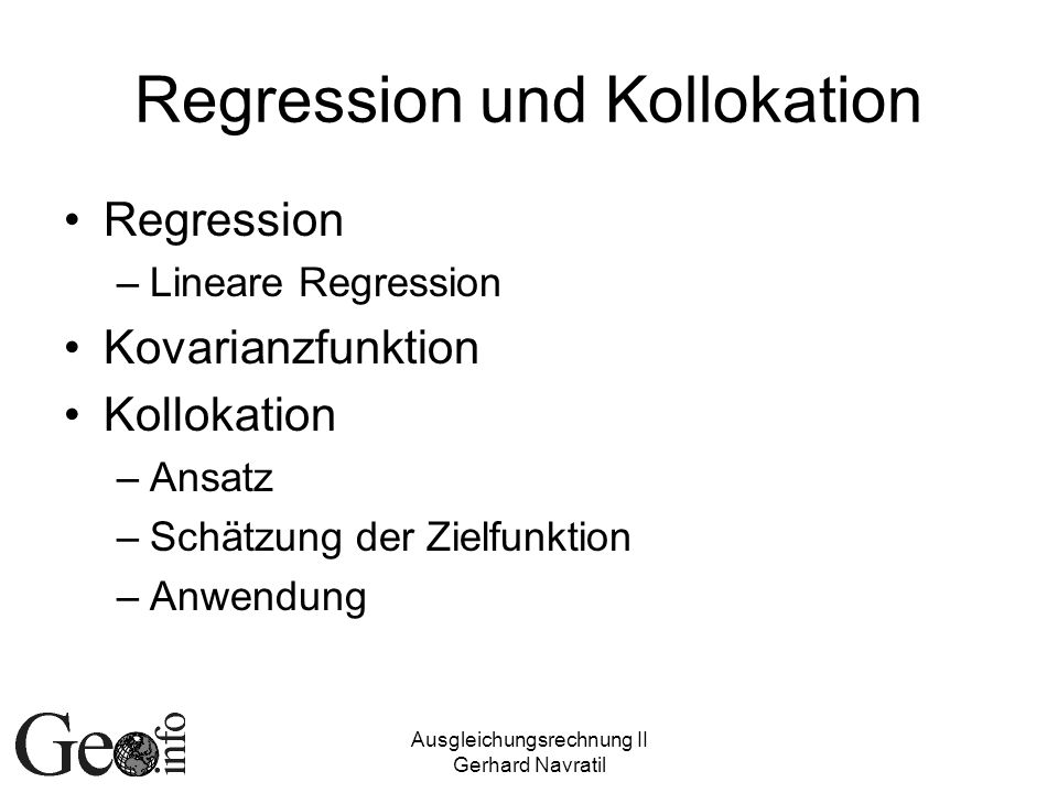 Regression und Kollokation