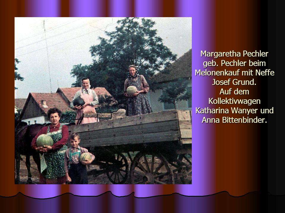Margaretha Pechler geb. Pechler beim Melonenkauf mit Neffe Josef Grund