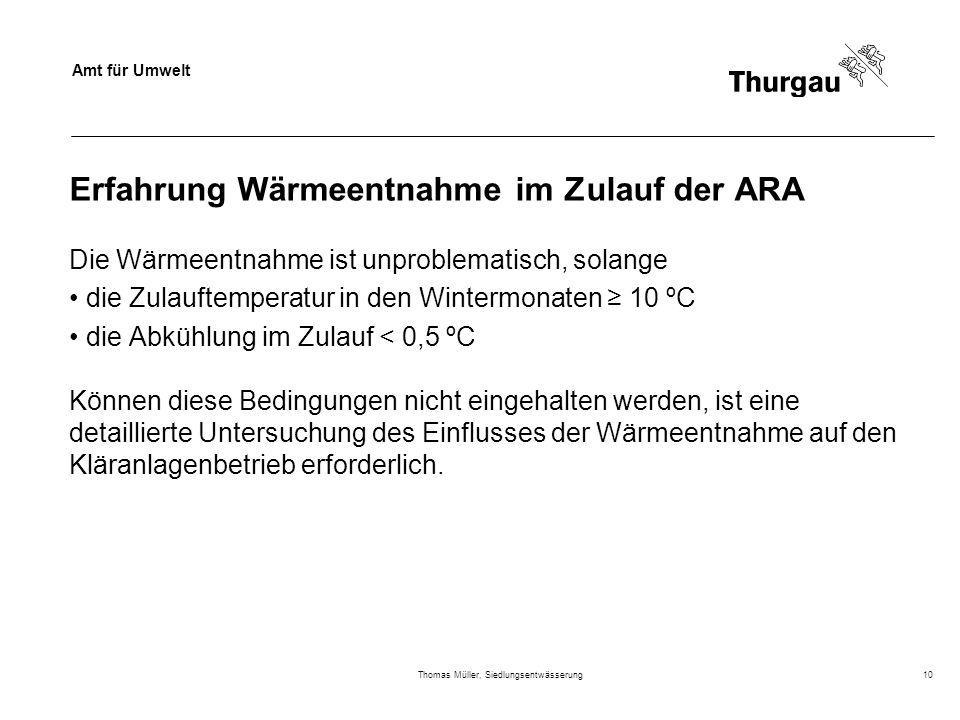 Erfahrung Wärmeentnahme im Zulauf der ARA