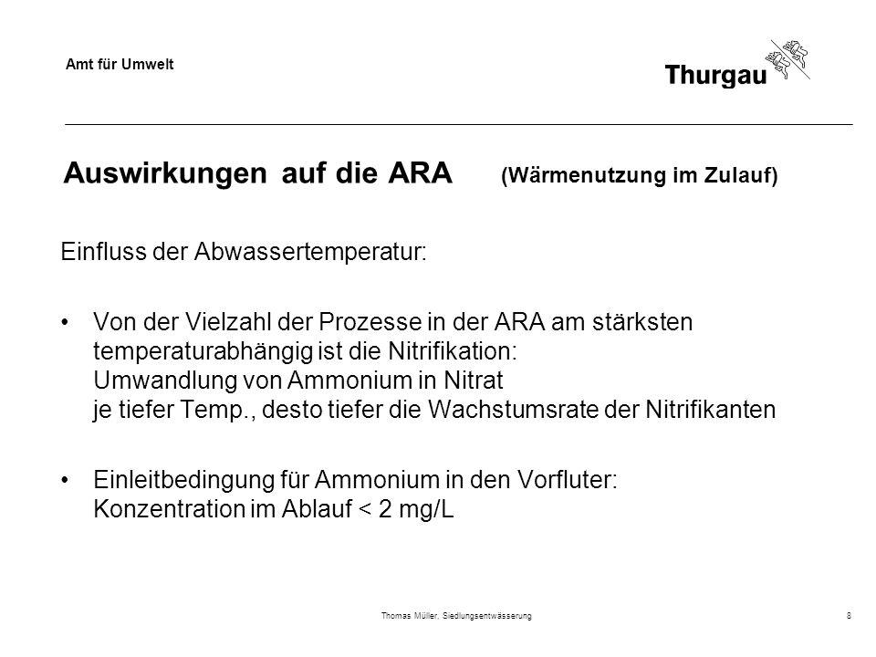 Auswirkungen auf die ARA (Wärmenutzung im Zulauf)