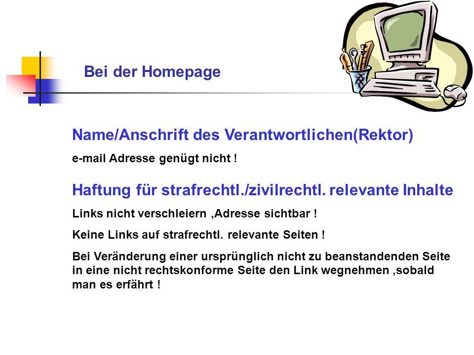 Name/Anschrift des Verantwortlichen(Rektor)