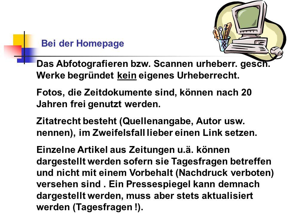 Bei der Homepage Das Abfotografieren bzw. Scannen urheberr. gesch. Werke begründet kein eigenes Urheberrecht.