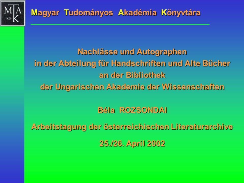 Arbeitstagung der österreichischen Literaturarchive