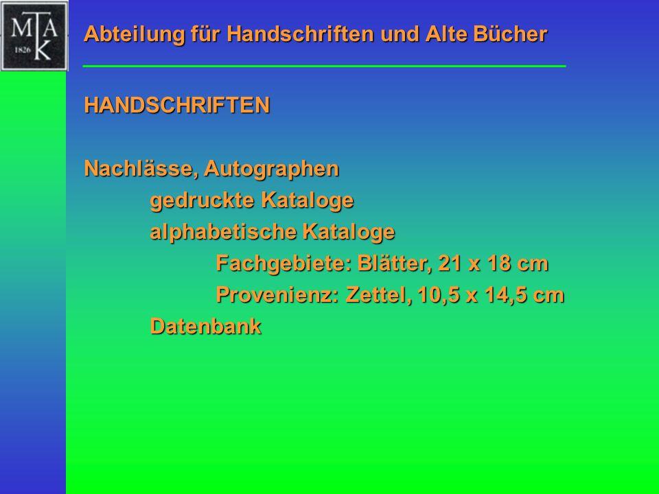 Abteilung für Handschriften und Alte Bücher
