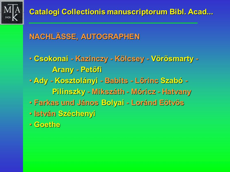 Catalogi Collectionis manuscriptorum Bibl. Acad...