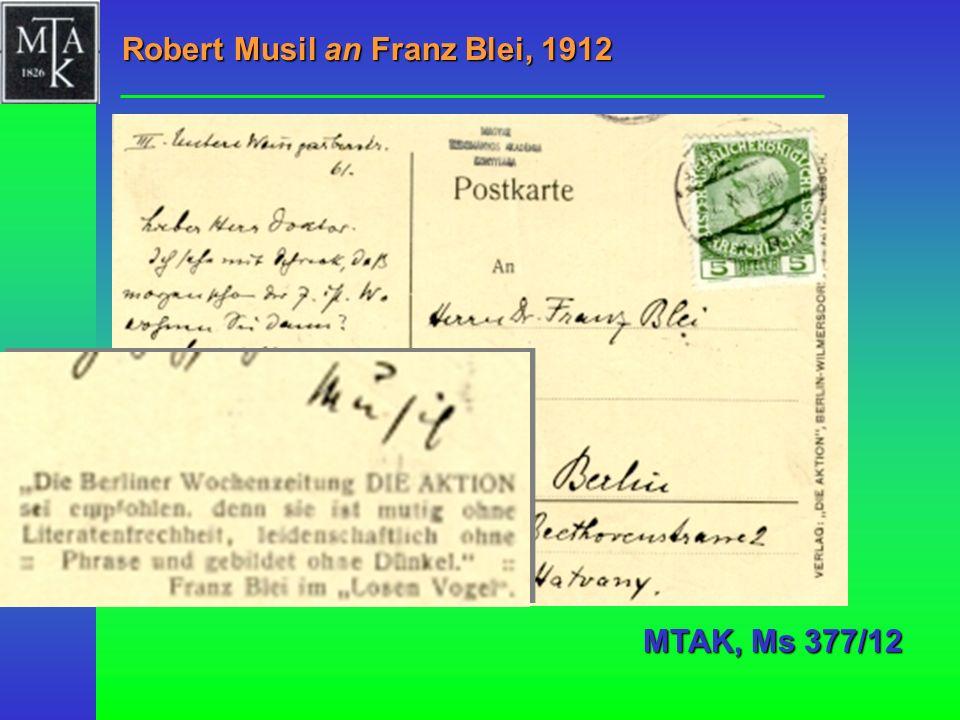 Robert Musil an Franz Blei, 1912