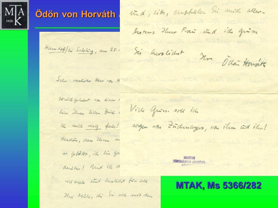 Ödön von Horváth an Lajos Hatvany, 1937