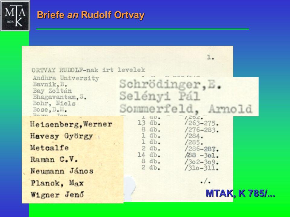 Briefe an Rudolf Ortvay