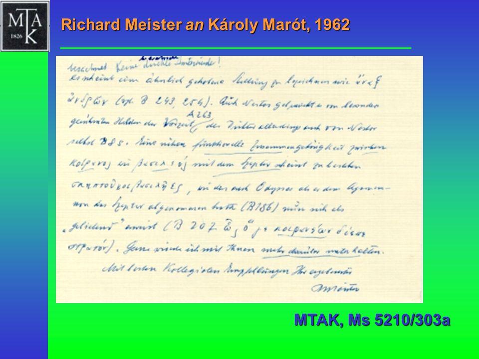 Richard Meister an Károly Marót, 1962