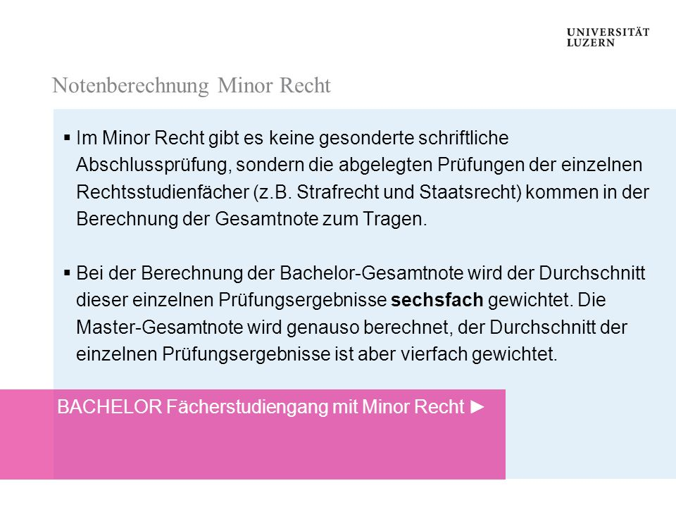 Notenberechnung Minor Recht