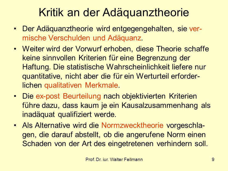 Kritik an der Adäquanztheorie
