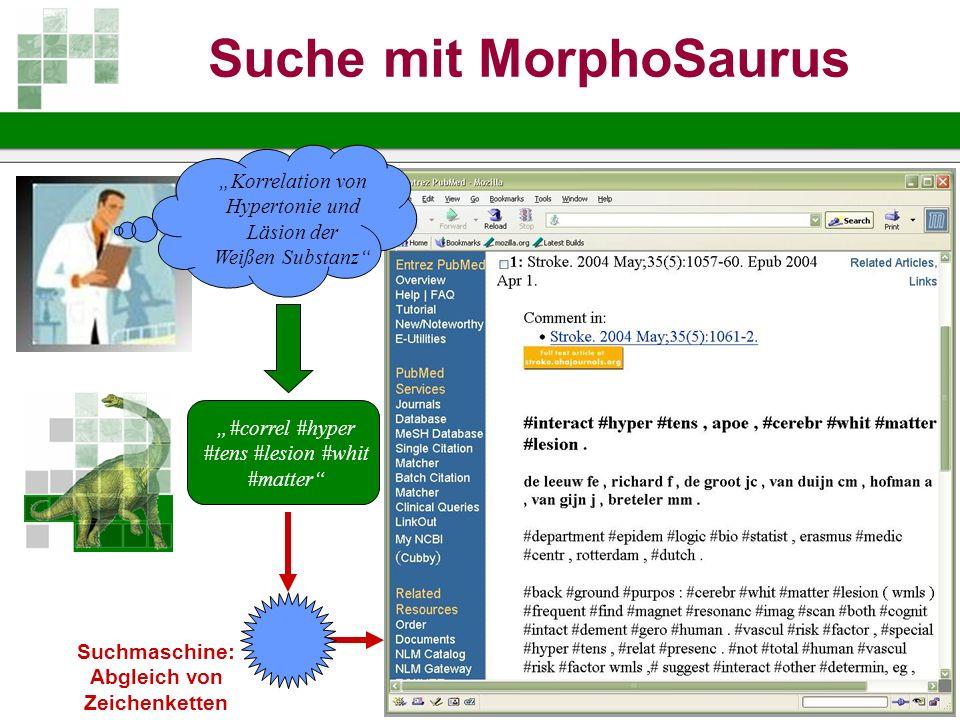 Suche mit MorphoSaurus Abgleich von Zeichenketten
