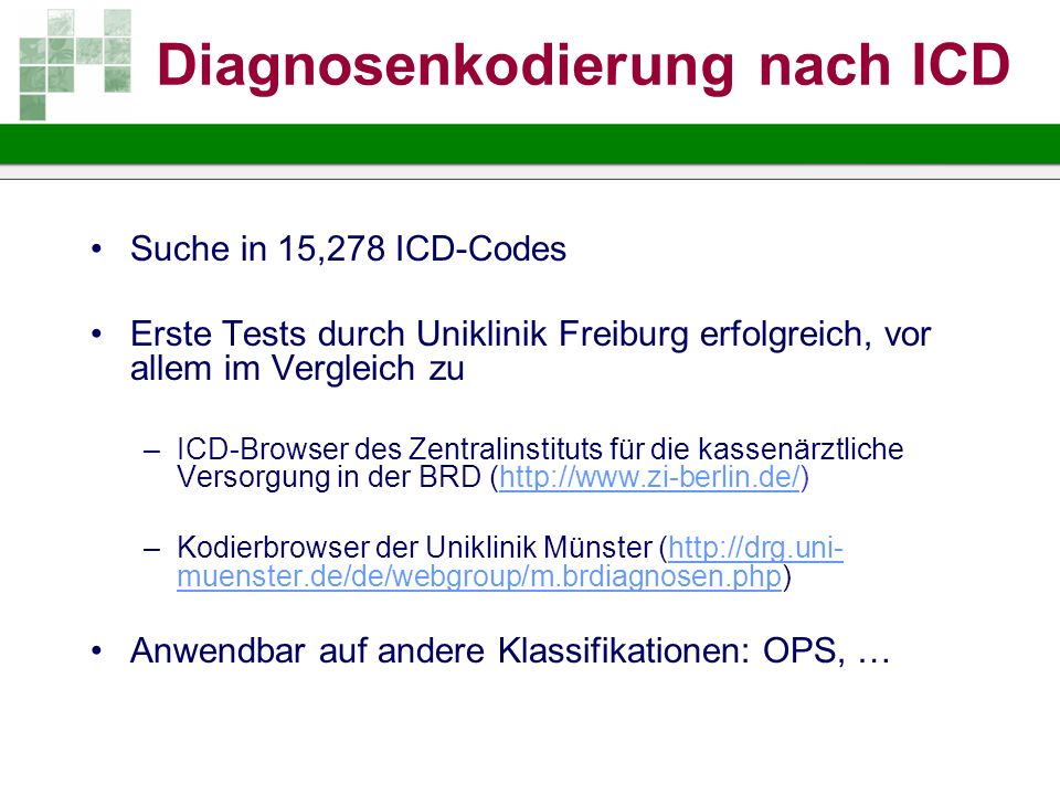 Diagnosenkodierung nach ICD