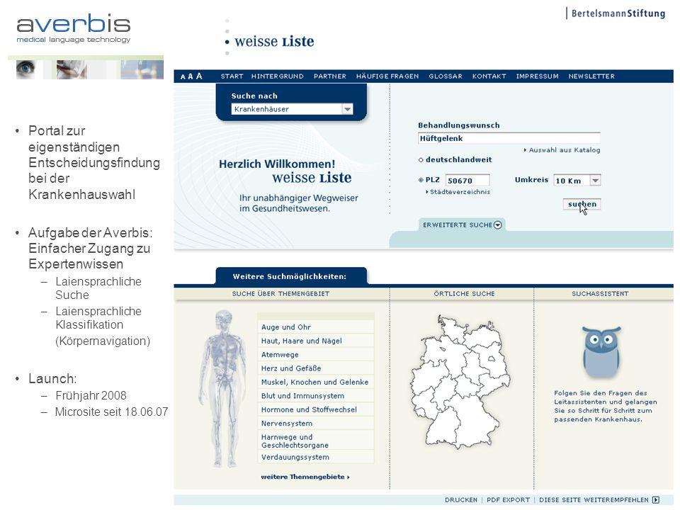 Portal zur eigenständigen Entscheidungsfindung bei der Krankenhauswahl