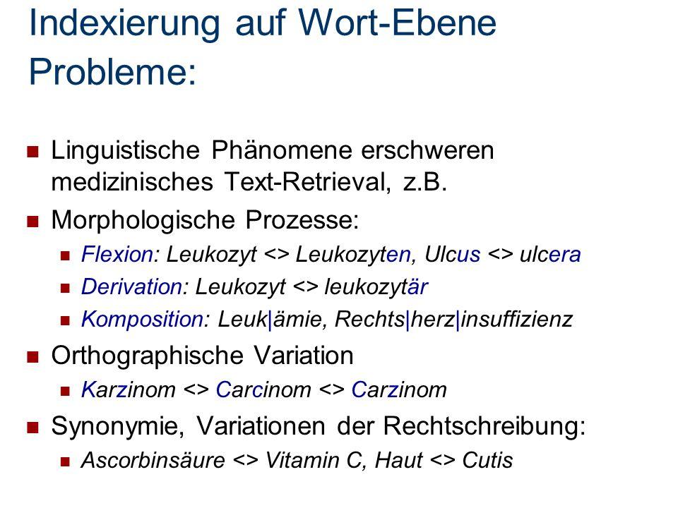 Indexierung auf Wort-Ebene Probleme: